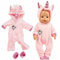 1PC Girl Dolls Unicorn Jumpsuit Doll Clothes Outfit with Sho