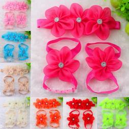 3pc/set Baby Girl Kids Barefoot Sandals Shoes Headband Cryst