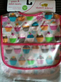Luvable Friends 4 pocket bibs cupcakes multi-pack