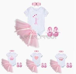 4PCS Baby Girls Birthday Party Romper Headband +Tutu Skirt +