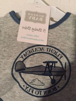 Hudson Baby 5 Bibs Airplane And Flying Theme