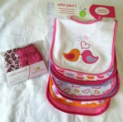 Luvable Friends 7 Pack Bibs Girls No Scratch Mittens Cheetah