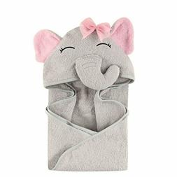 Hudson Baby Animal Face Hooded Towel for Girls, Pretty Eleph