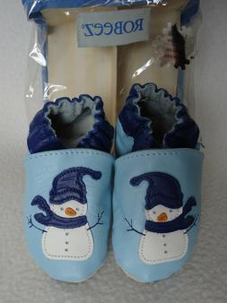 Robeez Baby Blue Snowman 6 12 Months Shoes Leather Limited E