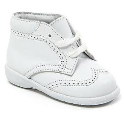 Baby Boy White Leather High Top shoes with Laces & Stitch De