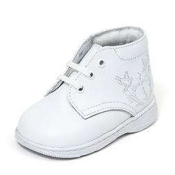 Baby Boy White Leather High Top shoes with Cross Laces Made