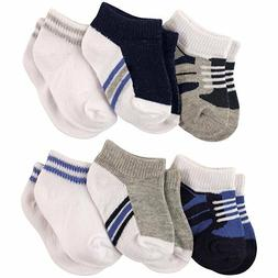 LUVABLE FRIENDS BABY BOYS 6-PACK NO SHOW ANKLE SOCKS  0-6 6-