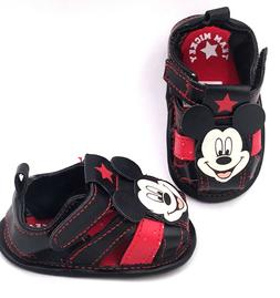 Disney Baby Boys Crib Shoes Mickey Mouse Sandals Sizes 3-6M