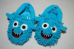 Baby Boys SILLY BLUE MONSTER SLIPPERS Rubber Soles SIZE 2 3