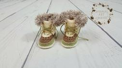 Baby Clothing Snow Boots Booties Shoes Handmade Crochet 3-6