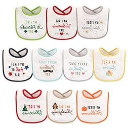 Hudson Baby Baby Festive Holiday Bibs, 10, One Size