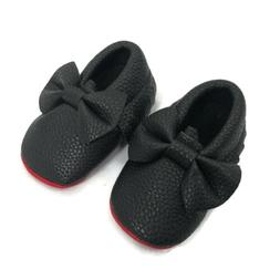 Baby Girl Crib Shoes Black Faux Leather Red Bottom Soles Bow
