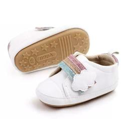baby girl over the rainbow rubber sole
