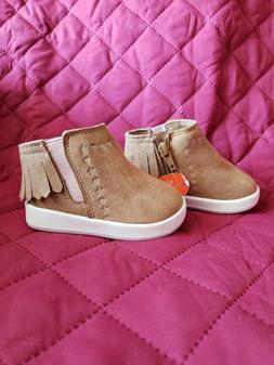 Baby girl size 4 brown tan faux suede fringe moccasins shoes