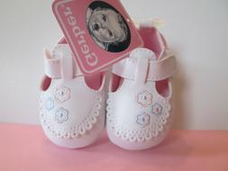Gerber Baby Girl Soft Sole Shoe White with Flowers