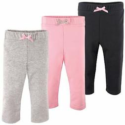 Luvable Friends Baby Girls' Leggings 3 Pack Light Pink/Black