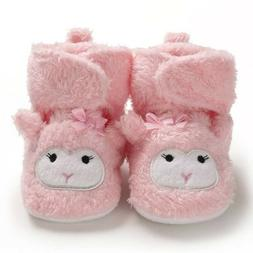 Baby Girls Pink Lamb Slippers Baby Girls Soft Sole Shoes Com