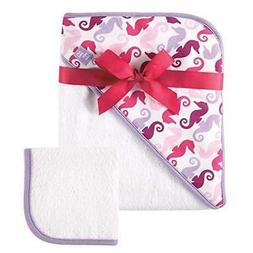 Baby Girls Hudson Baby Woven Seahorse Print Hooded Towel and