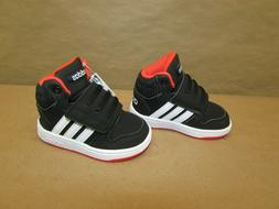 adidas Baby Hoops 2.0 Basketball Shoe, Black/White/red, 5K M