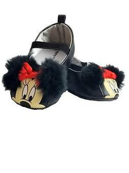 Disney Baby Infant Girls Black Minnie Mouse Fuzzy Ears Loafe