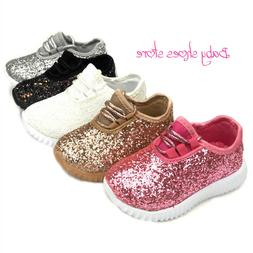 Baby Toddler Girls Tennis Glitter Sneakers Shoes Size 4-9 Ne