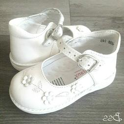 Baby Infant Toddler Girls White Dress Leather Shoes Size 5,6
