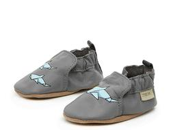 Robeez Baby Toddler All Leather Soft Sole Gray Shark tastic'