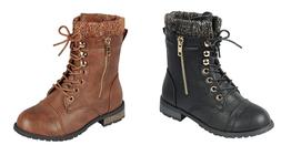 Baby Toddler And Youth Girls Leather P/U Combat Boots Lace U
