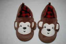 Baby Toddler Boys BROWN MONKEY SLIPPERS Rubber Sole SIZE 2 3