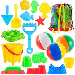 Joyin Toy 20 Pieces Beach Sand Toys Set in Zippered Bag With