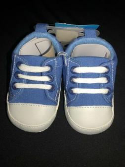 Luvable Friends Boy Baby Booties Canvas Sneakers Blue Solid