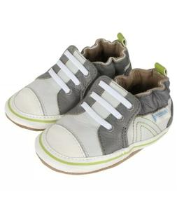 ROBEEZ Boys 18-24 Months Trendy Trainer Gray Leather Shoes S