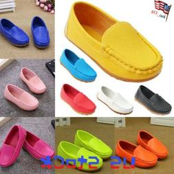 Boys Girls Kids Baby Oxford Flats Shoes Boat Sneakers Slip O