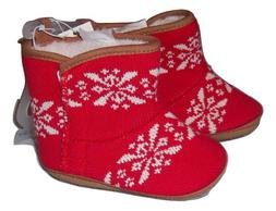 Boys Girls Unisex Baby Shoes Booties Red White Knit Old Navy