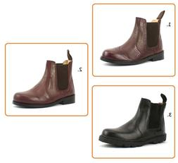 BOYS KIDS INFANTS NEW REAL LEATHER CHELSEA DEALER BOOTS SCHO