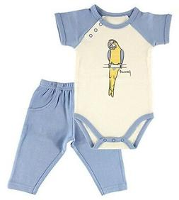 Boys HUDSON BABY outfit 0-3 NWT organic cotton beach parrot