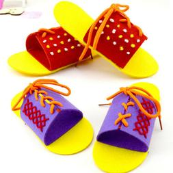Children Wooden Lacing Shoes Toddler Baby Teaching Tie Shoel