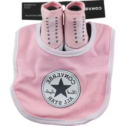 Converse Chuck Taylor Booties & Bib Infant Baby Set 6-12 mon