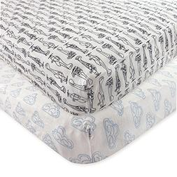 Hudson Baby 2 Piece Cotton Fitted Crib Sheet, Airplane, One
