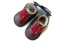 Fila Dark Brown Boots Red Laces Hiking Infant Boys Crib Shoe