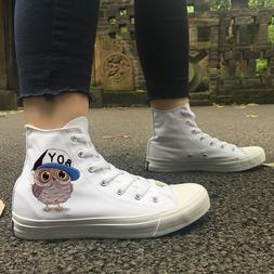 Wen Fashion Sneakers Cartoon Baby Owl Design Shoes White Can