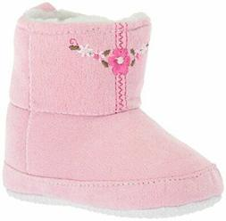 Luvable Friends Girls' Embroidered Suede Baby Boot Crib Shoe