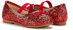 DREAM PAIRS Girls Flat Shoes Toddler Glitter Mary Jane Shoes