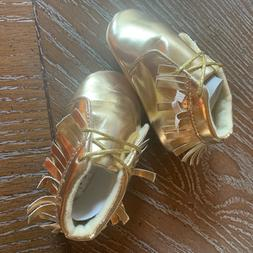juDanzy Gold Baby Girl Flexy Sole Shoes Size 9-12M, Moccasin