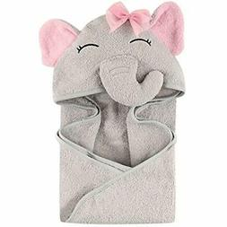 Hudson Baby Animal Face Hooded Towel For Girls Pretty Elepha