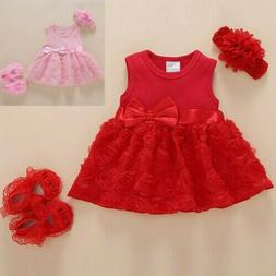 Infant Baby Girl Sleeveless Bowknot Flower Princess Dress Sh