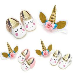 Infant Baby Girl Unicorn Soft  Prewalker Anti-Slip Crib Shoe