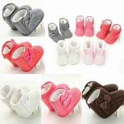 Infant Baby Girls Winter Cotton Knit Fleece Snow Boots Warm