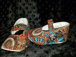Infant Baby Shoes for Girls Handmade Native American Aztec N