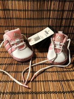 Infant/Baby Adidas Toe Crib Shoes - White and Pink - Size 0